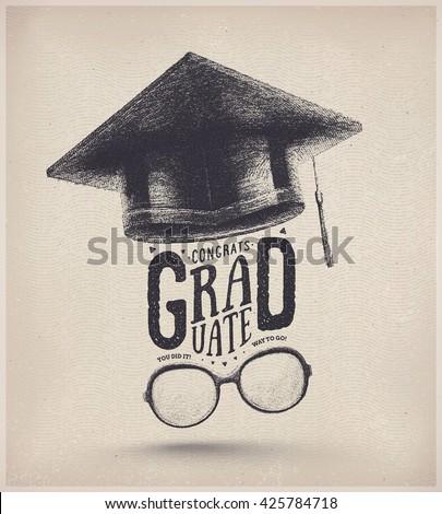 Congratulations on graduation, graduate cap and glasses, eps 10 - stock vector