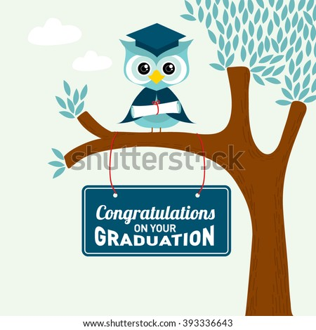 congratulations on your graduation greeting card owl and tree illustration
