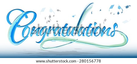Congratulations text banner with quill - stock vector