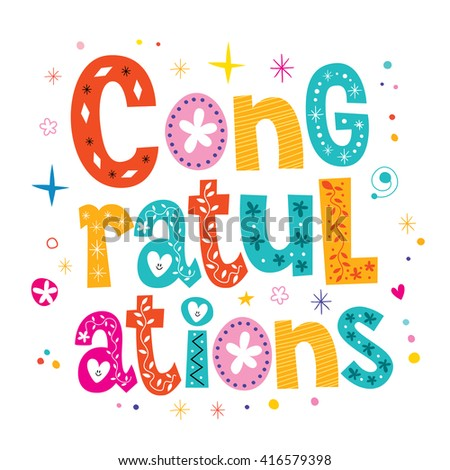 Congratulations typography lettering decorative type greeting card design - stock vector