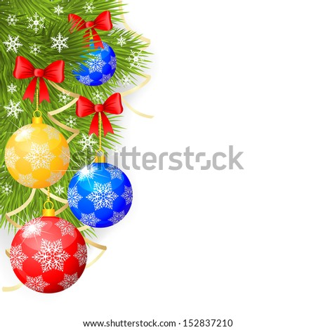 Congratulatory Christmas background with fir branches and decorative balls - stock vector