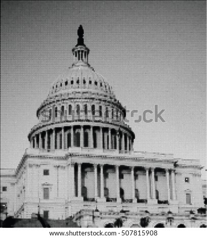 Congress building. Washington DC. USA. Halftone. Black and White