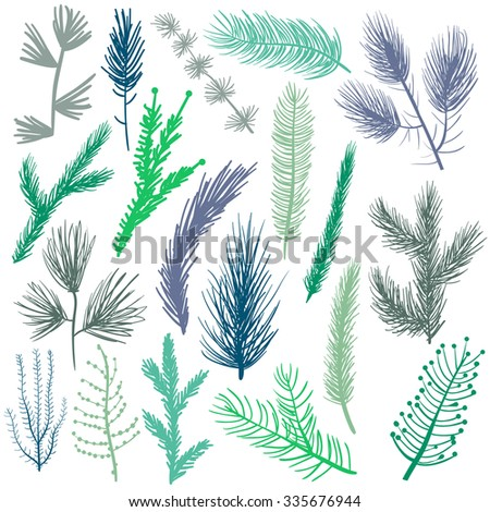 Coniferous tree branches set green silhouettes vector illustration. Modern flat decor elements for invitations, print, card, banner. Christmas festive nature pine branches - stock vector