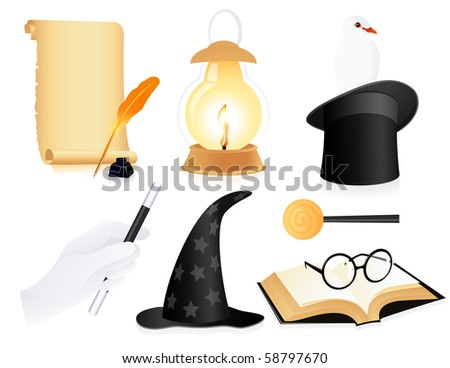 Conjurer icon set, vector illustration - stock vector