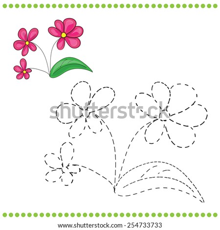 Connect The Dots And Coloring Page With Grass Flowers