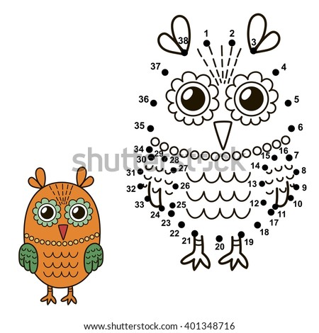 connect the dots to draw the cute owl and color it educational numbers and coloring