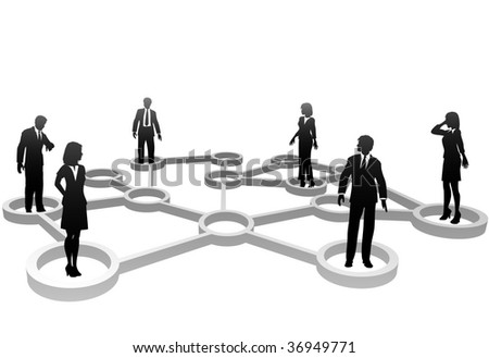 Connected Business People associate in Social or Business Community Network Nodes. - stock vector