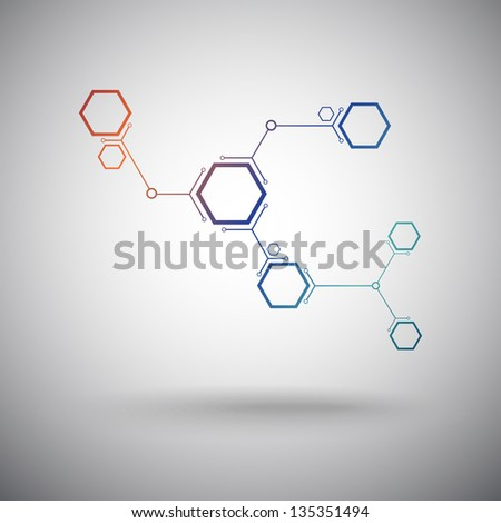 connected by a colored cell. Vector Graphics - stock vector