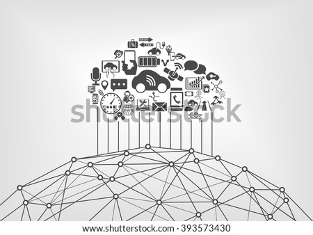 Connected car and internet of things infographic concept. Driverless cars connected to the world wide web. - stock vector