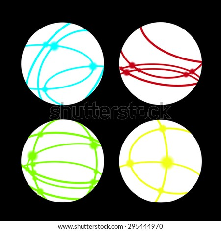 connected internet world with lines and hot spots - stock vector