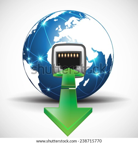 Connected network plug  - stock vector