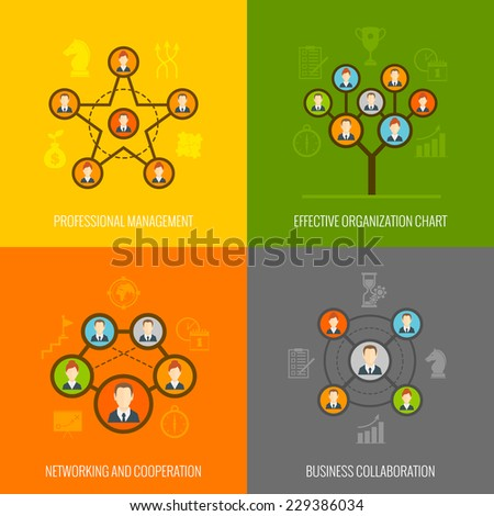 Connected people social network human hierarchy and communication concept flat icons set isolated vector illustration - stock vector