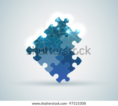 Connected puzzle pieces - stock vector