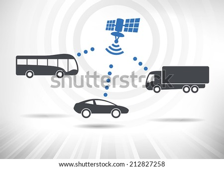 Connected Vehicles. Concept with intelligent vehicles connected via satellite. Vehicles in side view. Fully scalable vector illustration. - stock vector