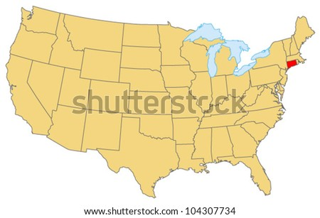 Connecticut Locate Map - stock vector
