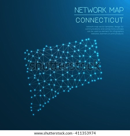 Connecticut network map. Abstract polygonal US state map design. Internet connections vector illustration. - stock vector