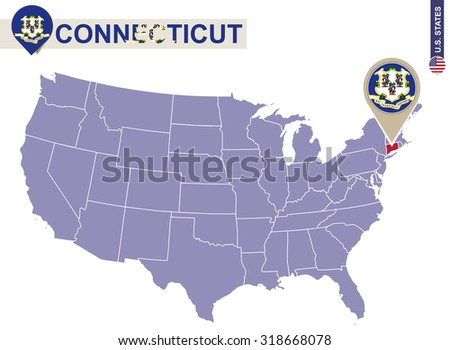 Connecticut State On Usa Map Connecticut Flag And Map Us States