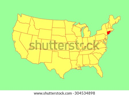 Connecticut State, USA, vector map isolated on United states map. Editable blank vector map of USA. - stock vector