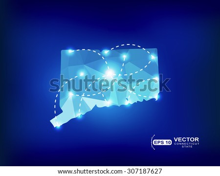Connecticut Us State Map Polygonal With Spot Lights Places