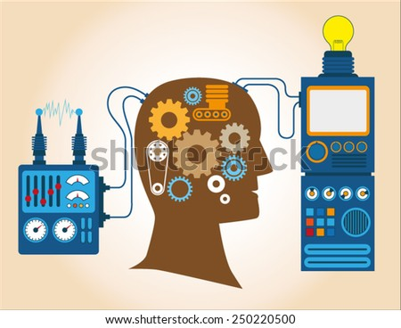 Connecting Brain and machine concept vector. flat style illustration - stock vector