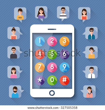 connecting people by dial number on smartphone social network concept. - stock vector