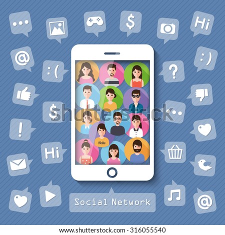 connecting people on smartphone with social network icons. vector. - stock vector