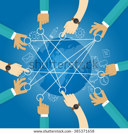connecting world building transportation network globe collaboration team work interconnection infrastructure - stock vector