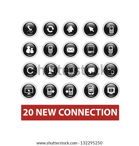 connection buttons set, vector - stock vector