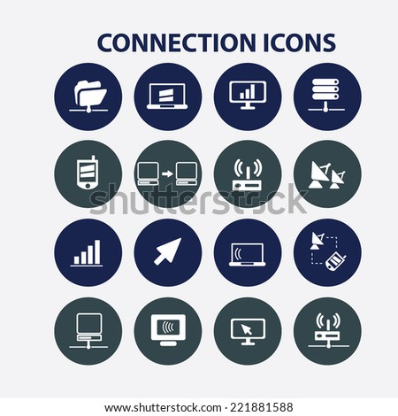 connection, communication buttons, icons, signs, illustrations, silhouettes set, vector - stock vector