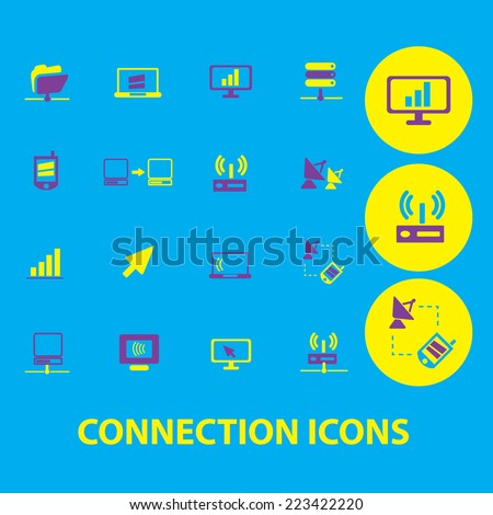 connection, communication, server, network icons, signs, symbols, illustrations set, vector - stock vector