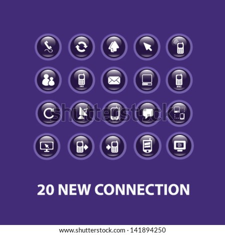 connection, communication technology, interface, buttons, icons set, vector - stock vector