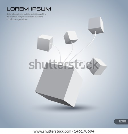 Connection Cube - stock vector