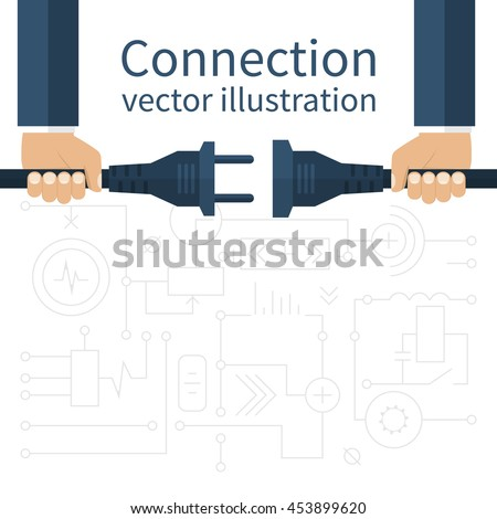 Connection, disconnection electricity. Vector illustration flat design. Men are holding in hand plug and socket to connect. Abstract concept isolated on the background of electric circuit. - stock vector