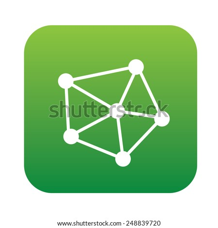 Connection icon on green button,clean vector - stock vector