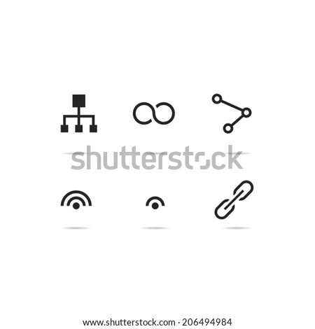 Connection icon set - stock vector