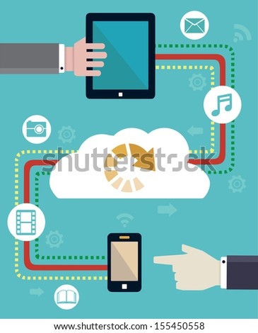 Connection of mobile devices. Transmit and download - vector illustration - stock vector