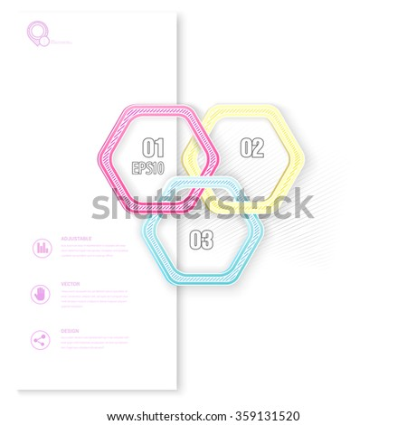 Connection of Three CMYK Colors Hexagonal Rounded Rings Vector for Your Layout Element - stock vector