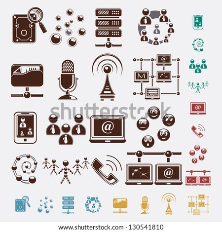 connection set of icons - stock vector