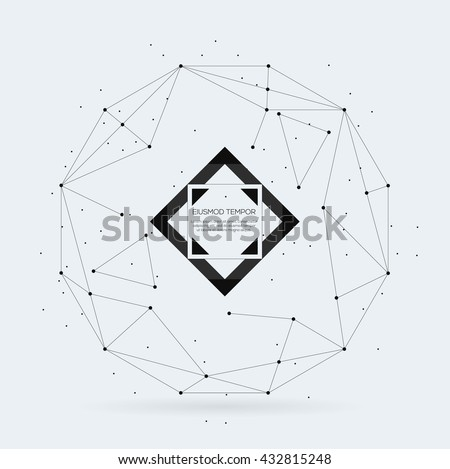 Connection Sphere with connected lines and dots - stock vector