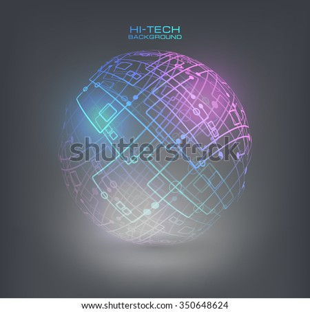 Connection structure molecules circle and blank space for your content. Point and curve constructed the sphere wireframe, technological sense. Abstract background with connecting dots and lines.  - stock vector