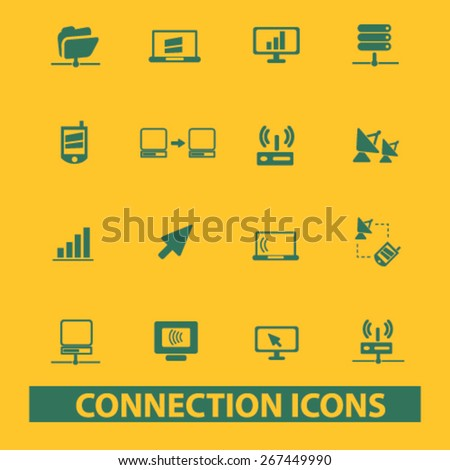 connection, technology isolated web icons, signs, illustrations concept design set, vector - stock vector
