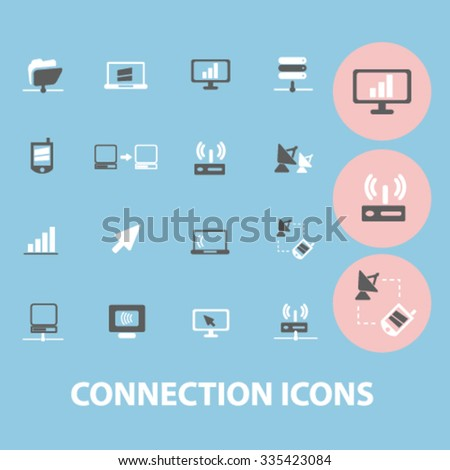 connection, technology, mobile  icons, signs vector concept set for infographics, mobile, website, application  - stock vector