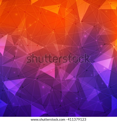 Connections background, abstract background with many dots connected with lines, outlined and filled in transparent triangles with beautiful bright colored mesh gradient