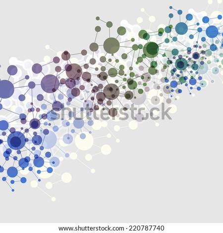 Connections - Colorful Molecular, Global, Business Network Design - stock vector