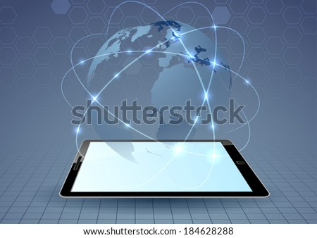 Connections controlled by mobile device. Vector illustration - stock vector