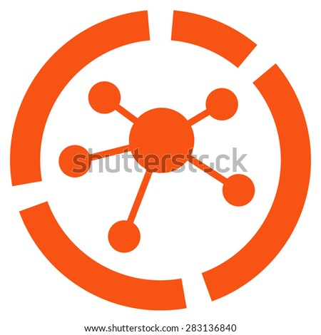 Connections diagram icon from Business Bicolor Set. Vector style: flat symbol, orange color, rounded angles, white background. - stock vector