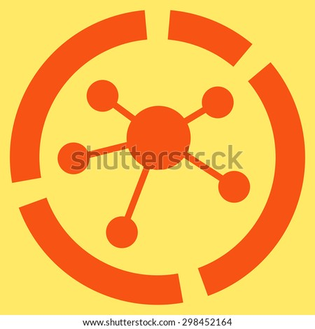 Connections diagram icon from Business Bicolor Set. Vector style is flat symbol, orange color, rounded angles, yellow background. - stock vector