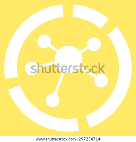 Connections diagram icon from Business Bicolor Set. Vector style is flat symbol, white color, rounded angles, yellow background. - stock vector