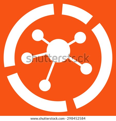 Connections diagram icon from Business Bicolor Set. Vector style is flat symbol, white color, rounded angles, orange background. - stock vector