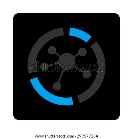 Connections diagram icon. Vector style is bicolor flat symbol, gray and light blue colors, black rounded square button, white background. - stock vector